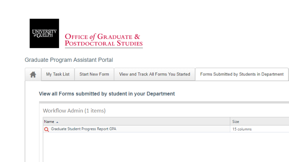 Screen shot of the Forms Submitted tab, showing the tab and a desired form.