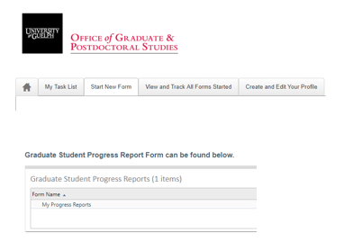 Screenshot of the start new form table showing the progress report form link.