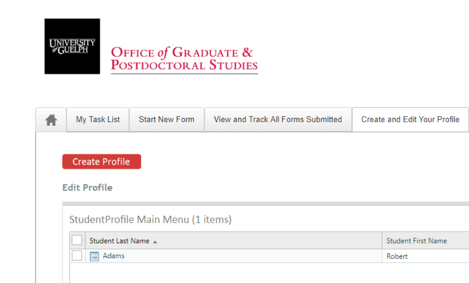 Screen shot of the student profile tab