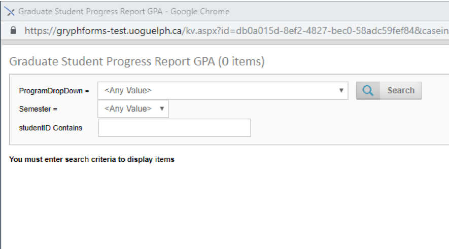 Screen shot of the screen used to search the submitted progress reports by students.