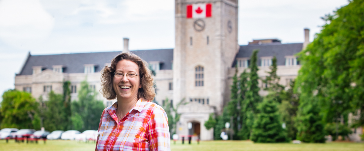 Portrait of Dr. Andrea Clark on Johnston Green at U of G