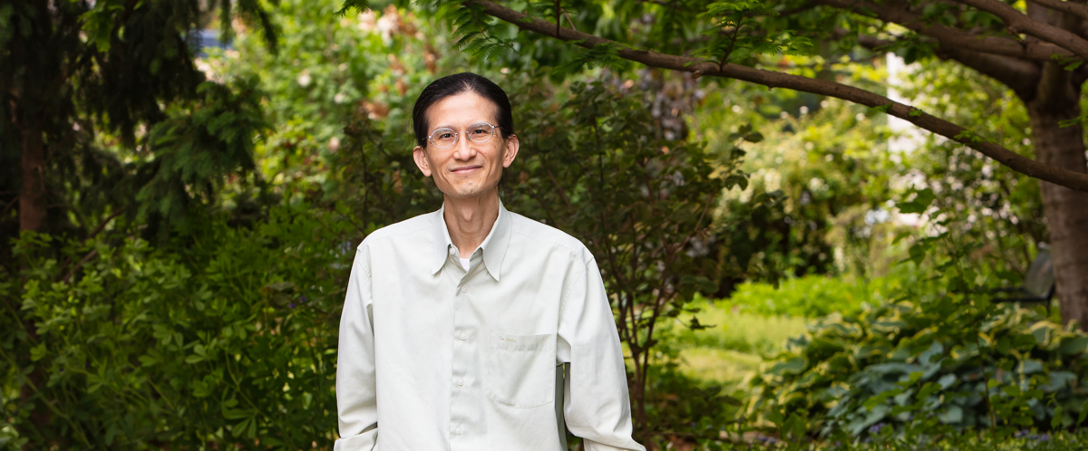 Portrait of Dr. Loong-Tak Lim at U of G's Conservatory Gardens