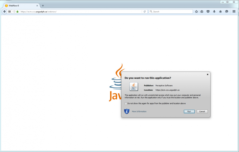 Screenshot showing the java application notification, to select run.