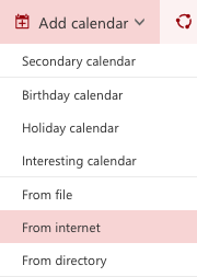 """Picture showing the """"From Internet"""" button selected in """"Add Calendar"""" in Office 365 Outlook Calendar."""