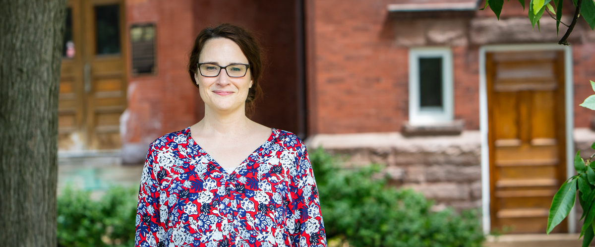 Portrait of Dr. Sofie LaChappelle in front of U of G's Massey Hall