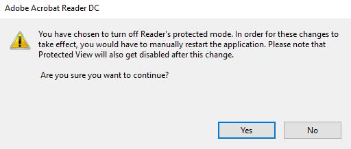 Screenshot of Reader warning popup