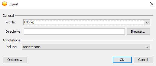 Screen shot of export pop-up in webnow