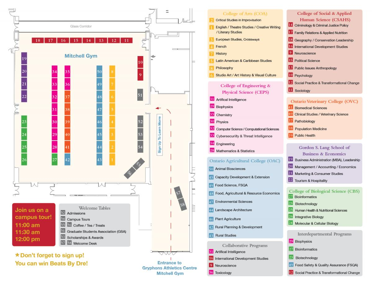 Floor plan layout of tables for Grad Studies Preview Day at U of G