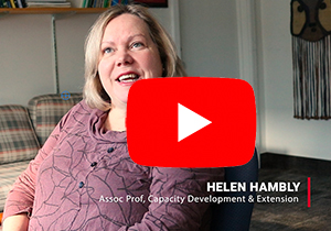 Screen capture of Helen Hambly and Youtube icon - link to video