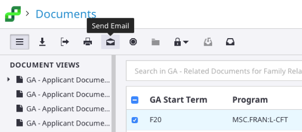 experience apps send email button location
