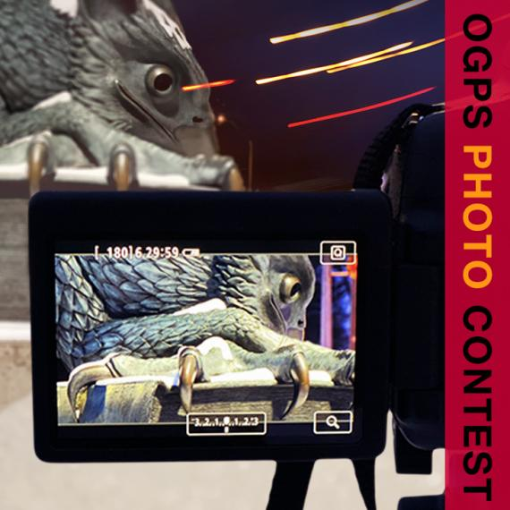 U of G Gryphon on a viewfinder on the back of a camera