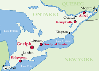 Map of Ontario, highlighting Guelph Ontario, which is located in the South West of the province, outside of Toronto