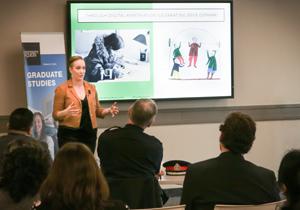 Photo of grad student Chrys Apostolatos' 3MT presentation