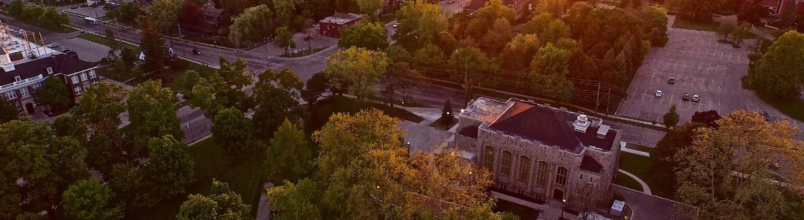 view from above of Campus buildings