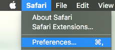 Safari Toolbar selecting Preferences