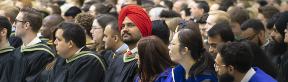 Crowd of graduate students at convocation