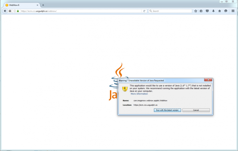 "Screenshot showing a warning popup stating ""Unavailable Version of Java Requested"""