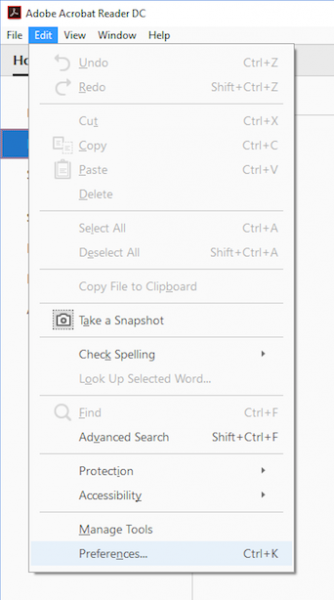 Screenshot of Adobe Reader Edit toolbar, selecting preferences
